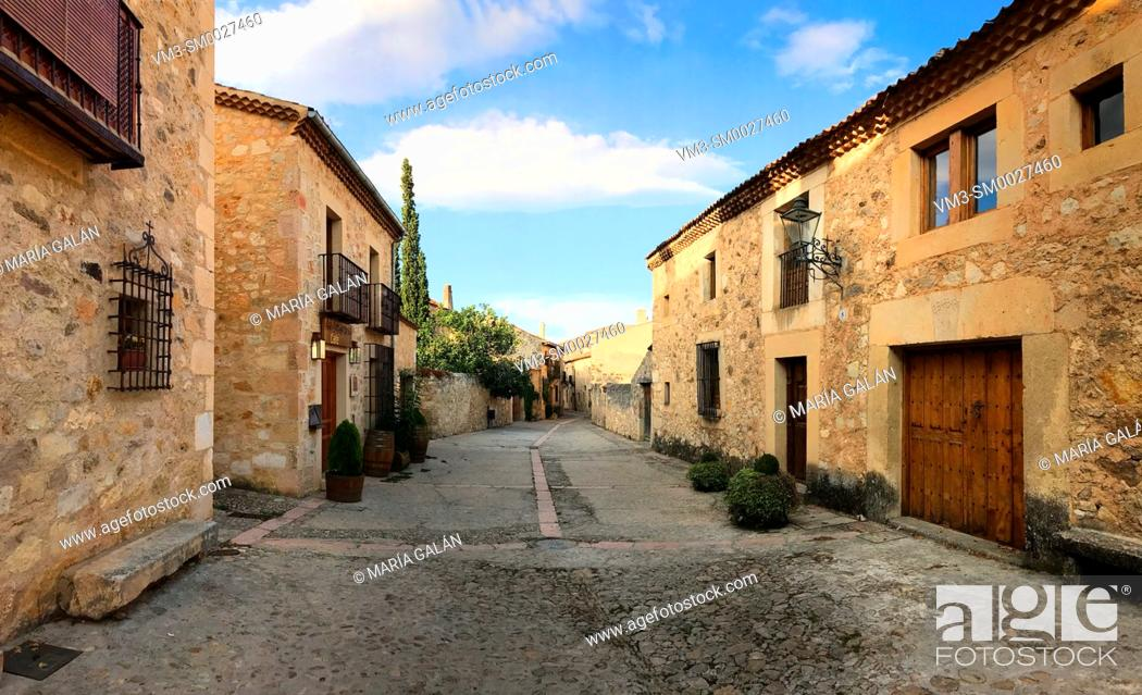 Stock Photo: Street, panoramic view. Pedraza, Segovia province, Castilla Leon, Spain.