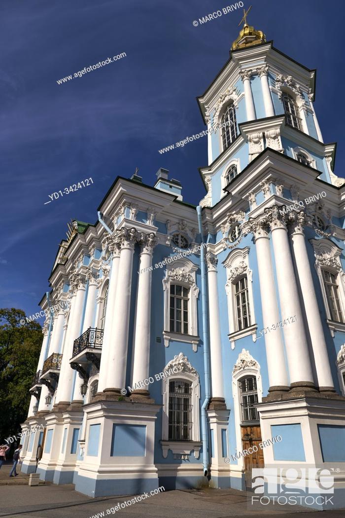 Photo de stock: St. Petersburg Russia. Nikolo Bogoyavlenskiy Morskoy Sobor. St. Nicholas Naval Cathedral.