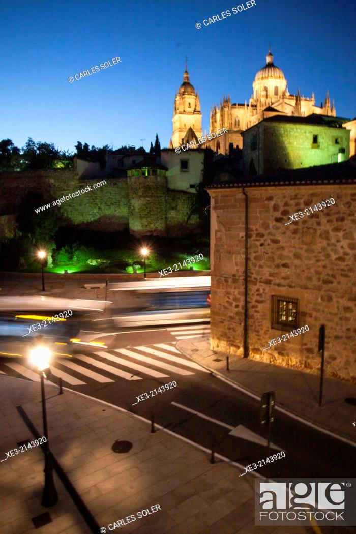 Stock Photo: Night view of the old town of Salamanca with Cathedral in background. Castile-Leon, Spain.