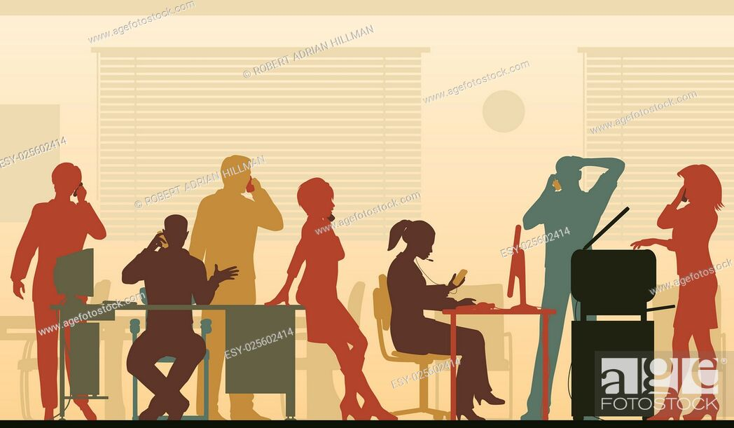 Stock Vector: Editable vector illustration of business people in an office all talking on cellphones.