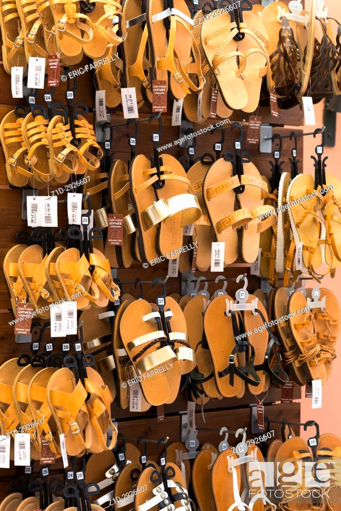 Imagen: Katakolon, Greece. Leather sandals for sale.