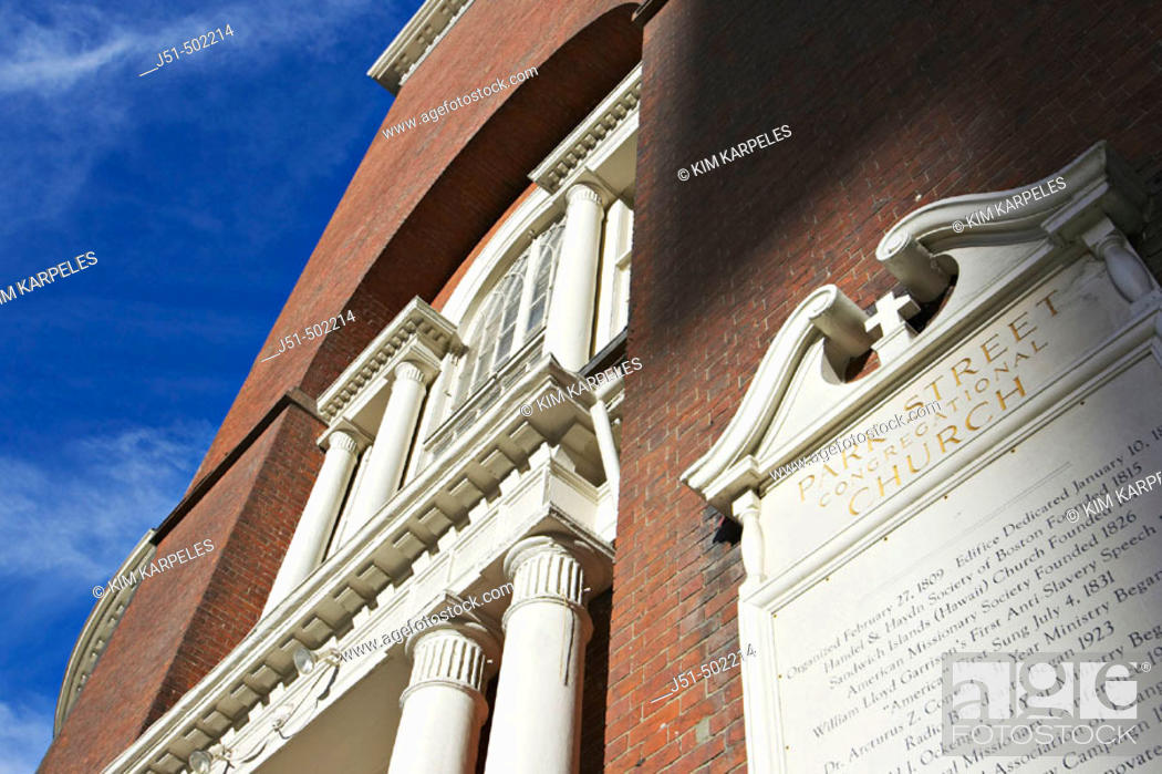 Stock Photo: Massachusetts, Boston, Park Street Church, red brick exterior, sign with historic dates, building details, site along Freedom Trail.