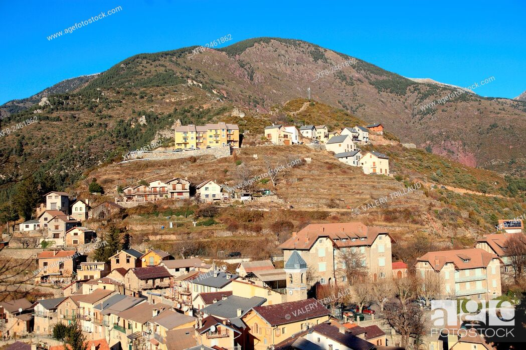 Stock Photo: Village of Rimplas, Tinee valley, Alpes-Maritimes, Mercantour national park, France.
