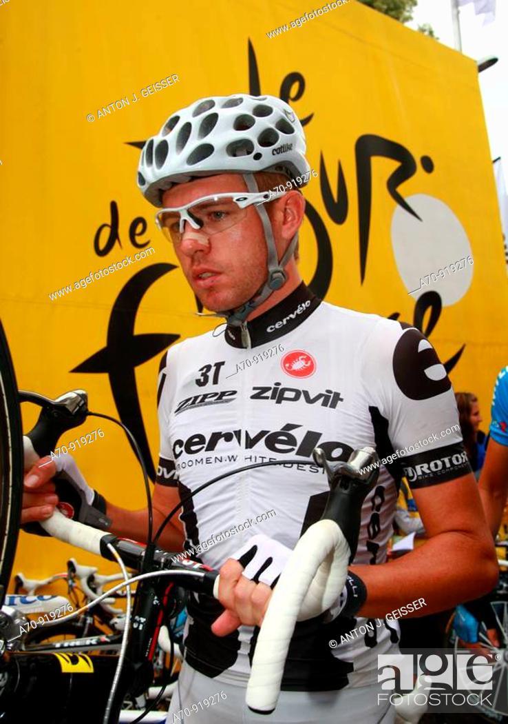 Stock Photo: Brett Lancaster (AUS) road bicycle racer for Cervélo TestTeam, Tour de France, 14 stage Colmar-Besancon (July 18th 2009).