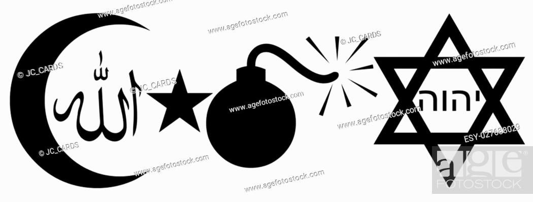 Symbols Of Judaism And Islam With A Bomb Stock Photo Picture And