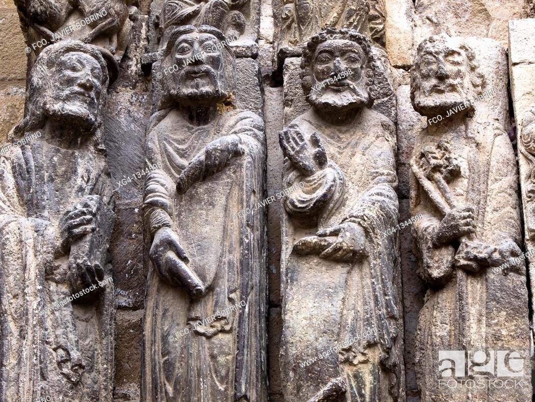 Stock Photo: Apostle sculptures. Romanesque door of the Church of San Miguel Arcangel. Estella (Lizarra). Navarre, Spain.