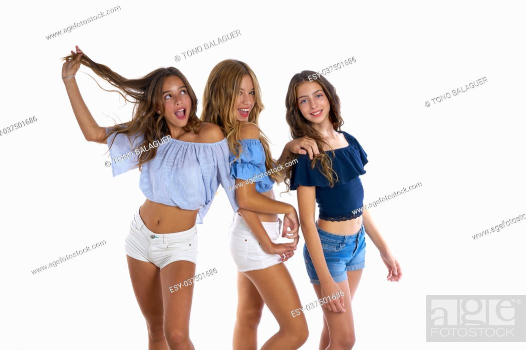 Photo de stock: Thee teen best friends girls happy together on white background.