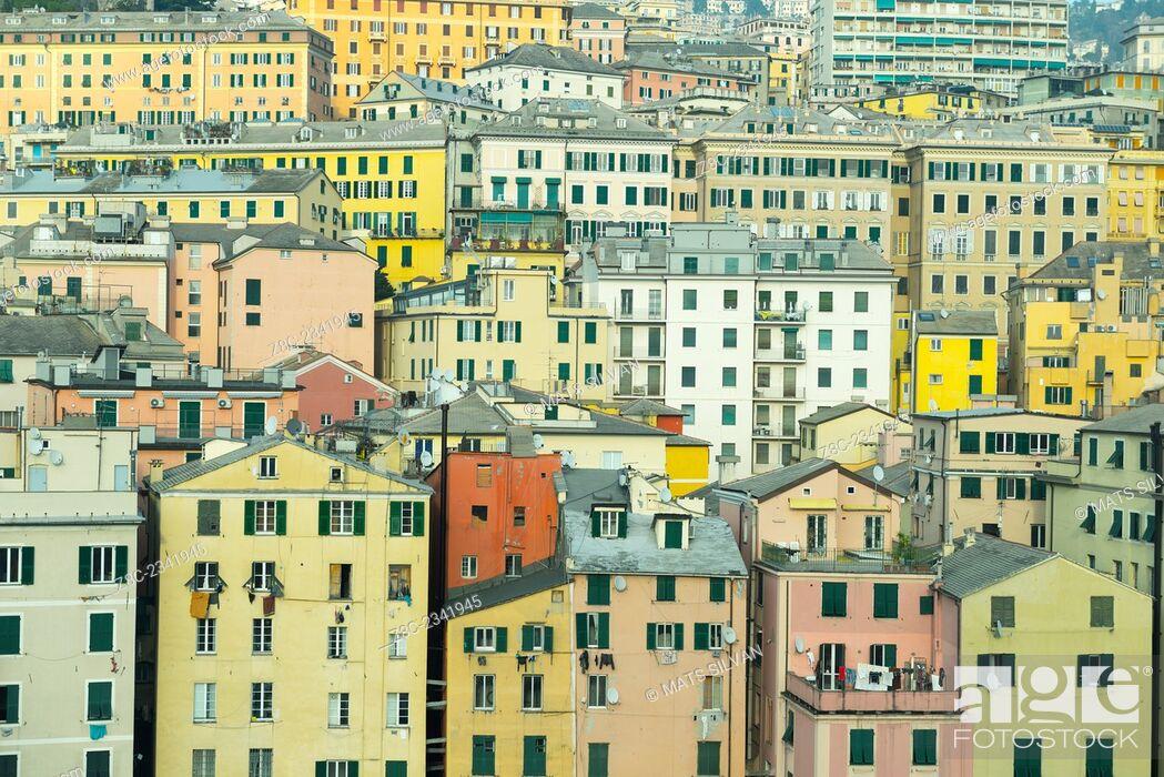 Stock Photo: Cityscape over Genoa, Italy.