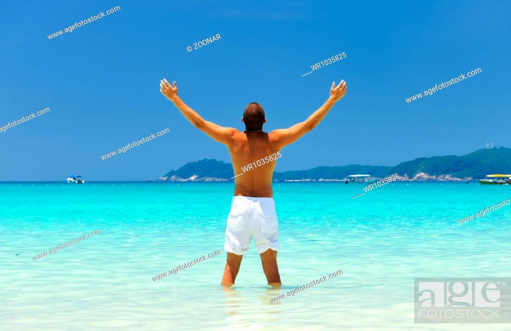 Stock Photo: Man at beach.