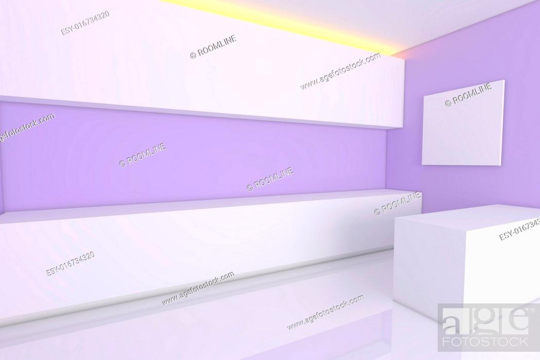 Stock Photo Empty Interior Design For Kitchen Room With Purple Wall