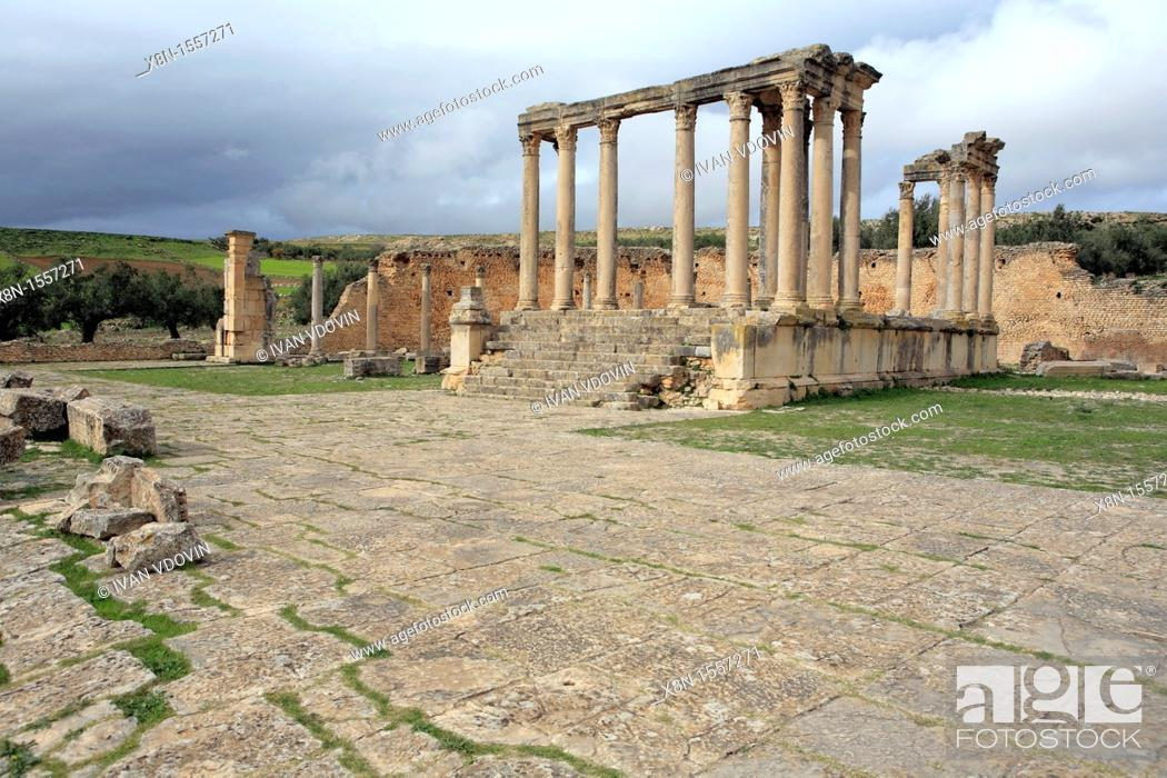 Stock Photo: Junona temple, Dougga Thugga, UNESCO World Heritage Site, Tunisia.