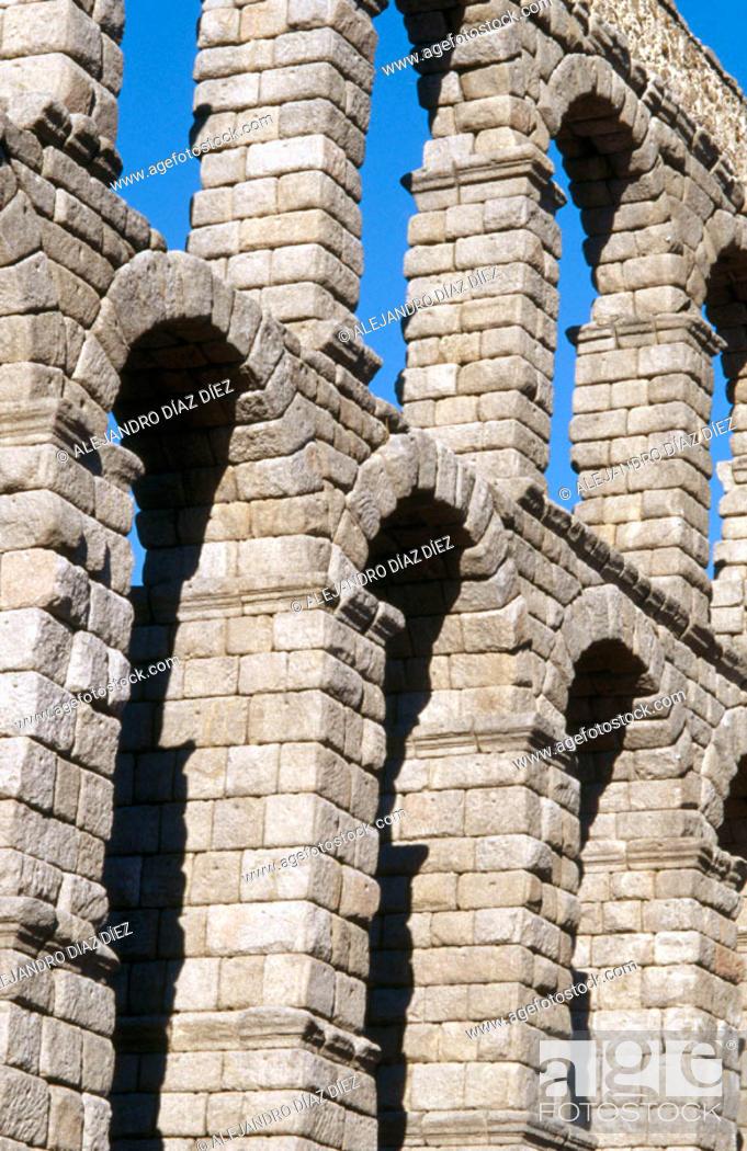 Stock Photo: Roman aqueduct detail, Segovia. Spain.