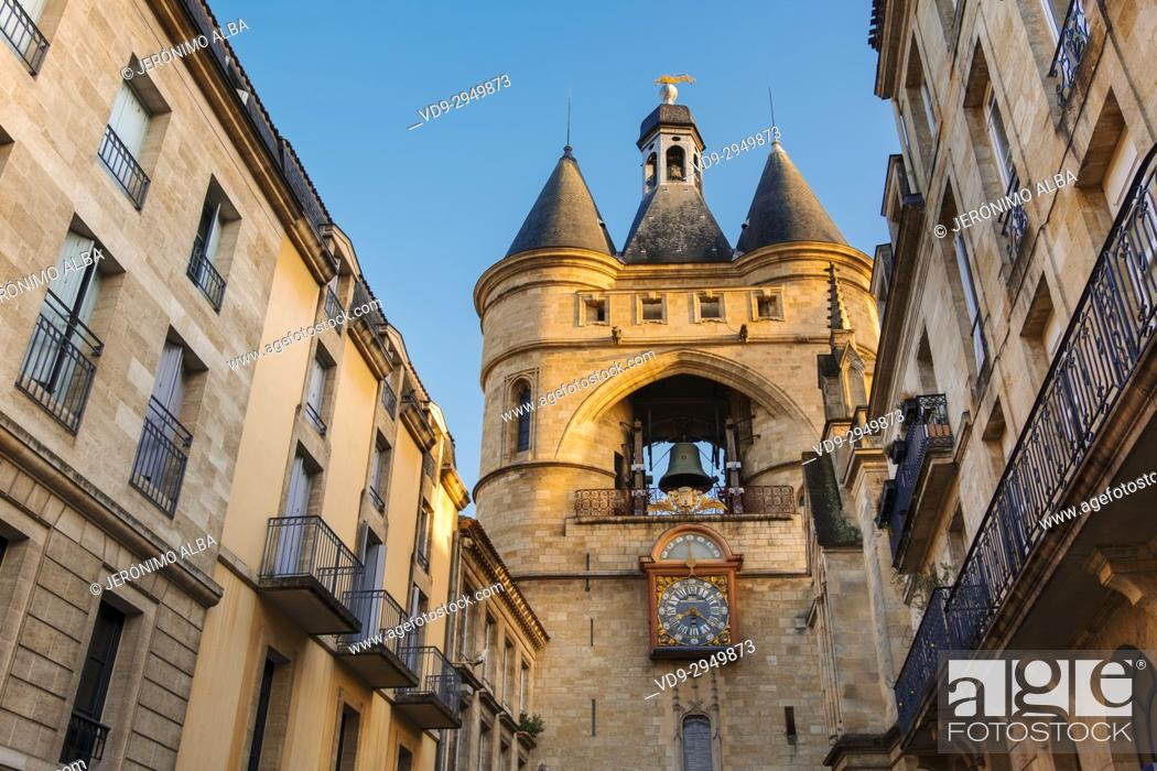 Stock Photo: Grosse Cloche bell tower former St Eloi town gate, Bordeaux. Aquitaine Region, Gironde Department. France Europe.