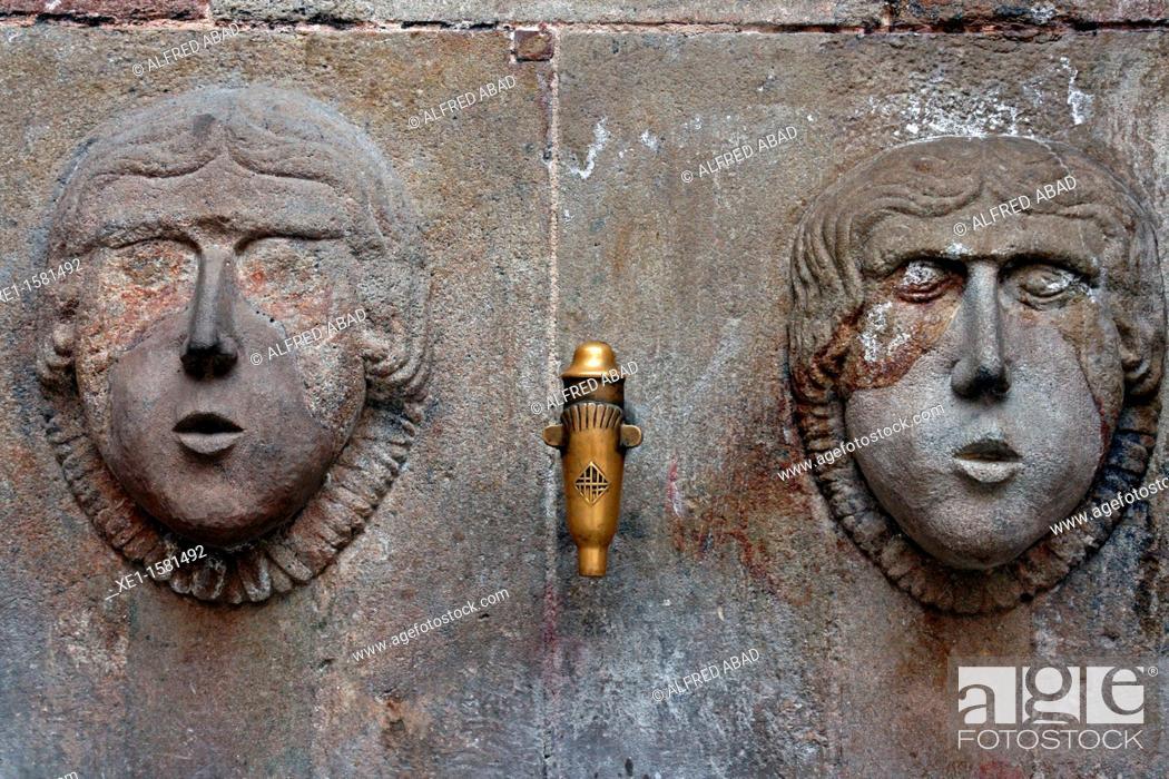 Stock Photo: source, Sant Just square, Gothic Quarter, Barcelona, Catalonia, Spain.