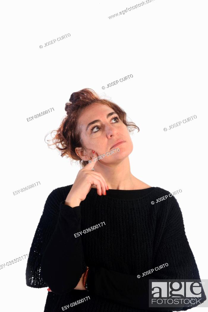 Stock Photo: portrait of a woman Thoughtful on white.