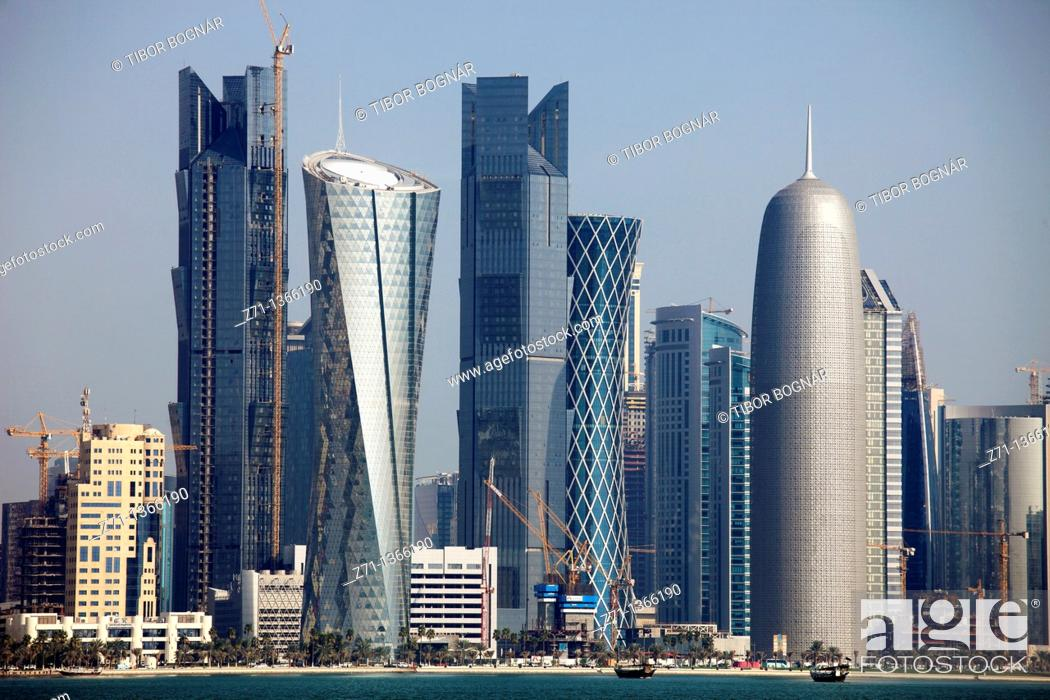 Stock Photo: Qatar, Doha, skyline, skyscrapers, general view,.