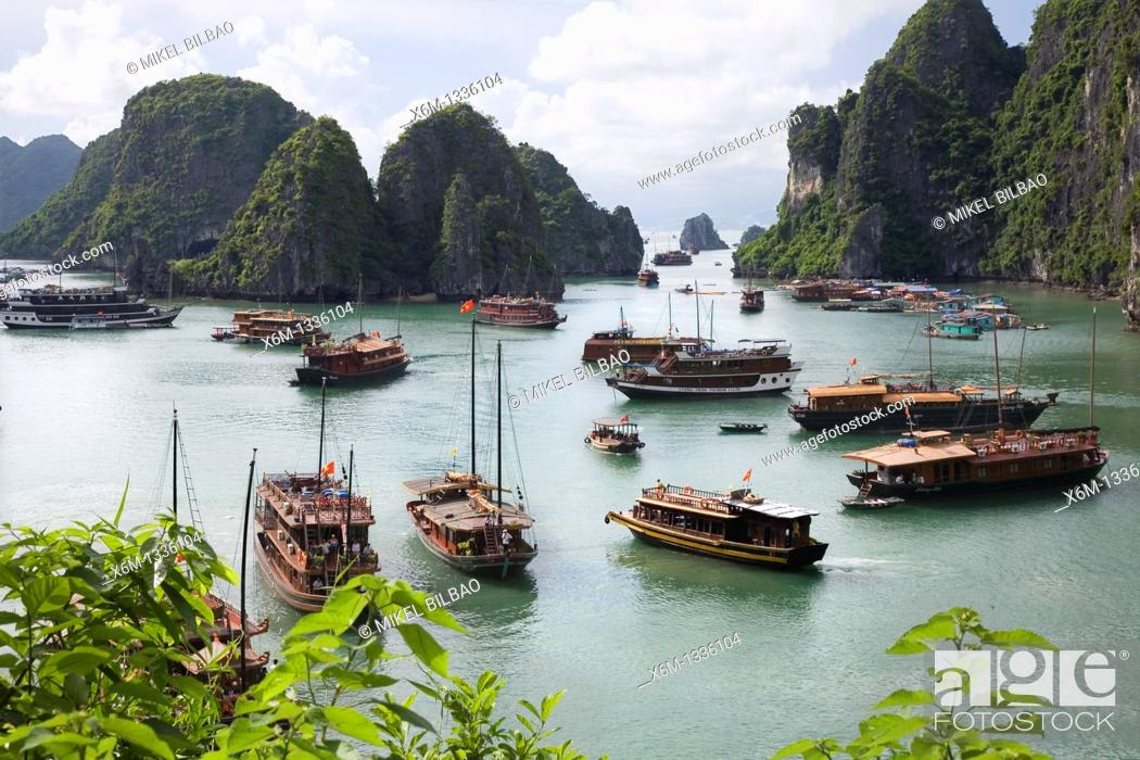 Stock Photo: View from Hang Sung Sot Cave  Ha Long Bay  Qung Ninh province, Vietnam.