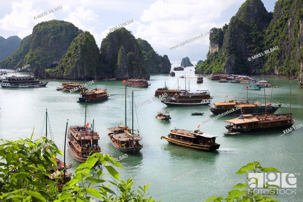 Stock Photo: View from Hang Sung Sot Cave  Ha Long Bay  Qung Ninh province, Vietnam.