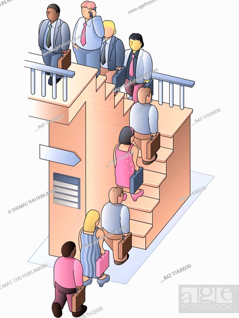 Stock Photo: People walking up stairs in an orderly line.