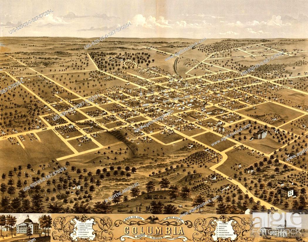 Bird's eye view of the city of Columbia, Boone Co , Missouri