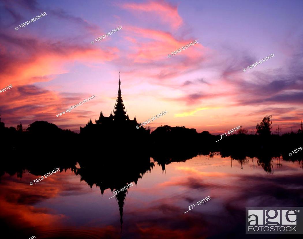 Stock Photo: Royal Barge. Palace Moat, Mandalay. Myanmar.