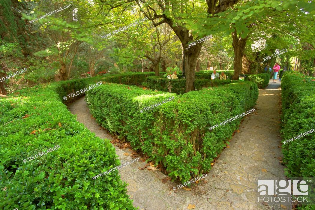 Stock Photo: Valldemossa Carthusian monastery gardens of the Sierra de Tramuntana Majorca Balearic Islands Spain.