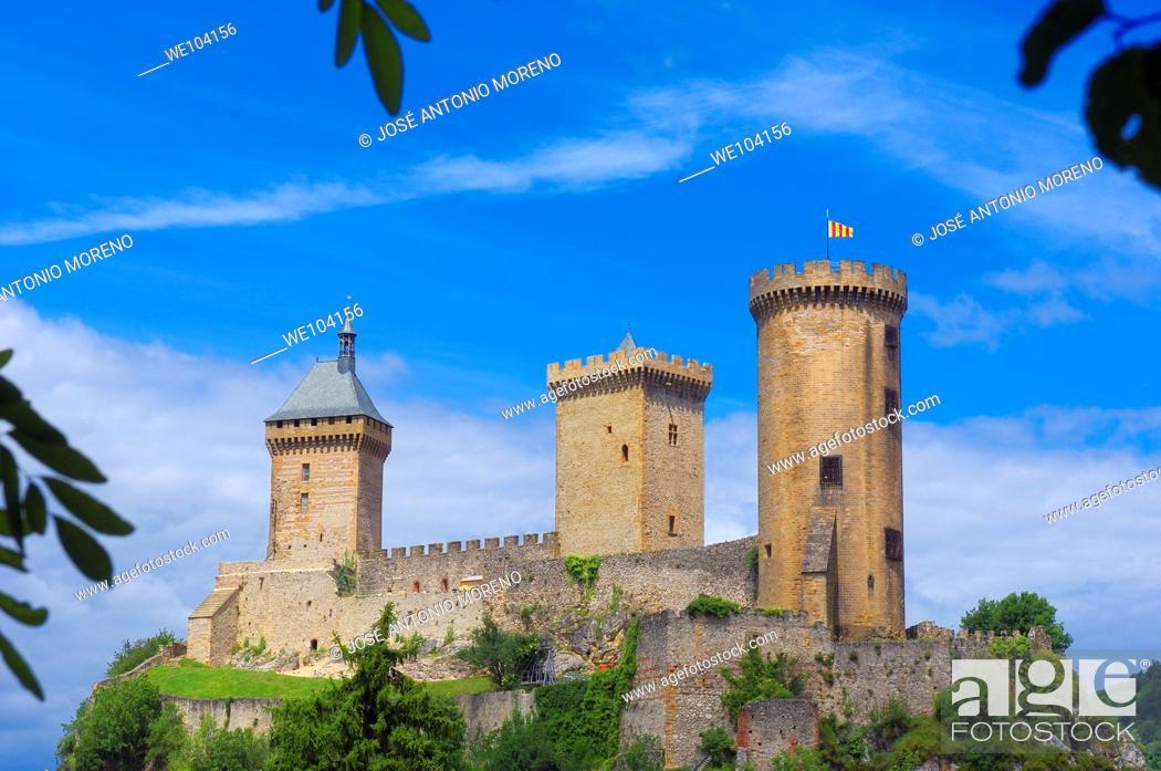 Stock Photo: Chateau de Foix castle, Foix, Cathar Country, Ariege, Midi Pyrenees, France.