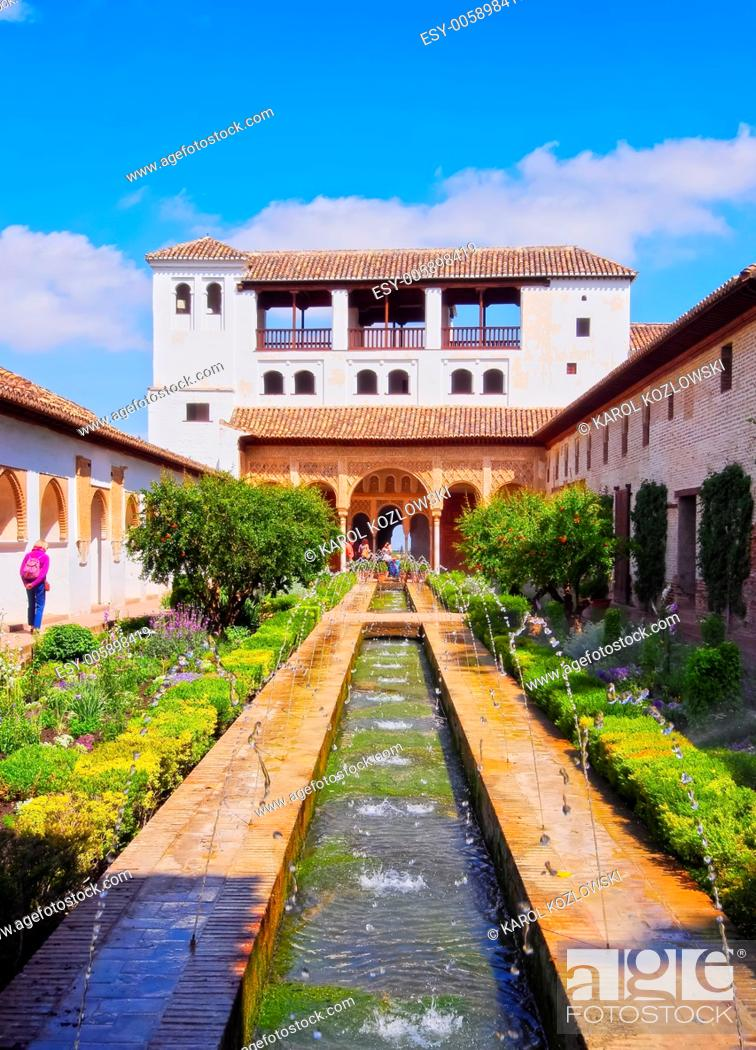 Stock Photo: Patio de la Acequia of Generalife Palace in Alhambra, Granada, Andalusia, Spain.