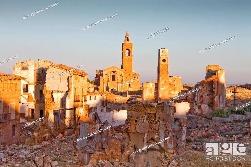 Stock Photo: Spain, Aragon region,Ruins of Belchite city.