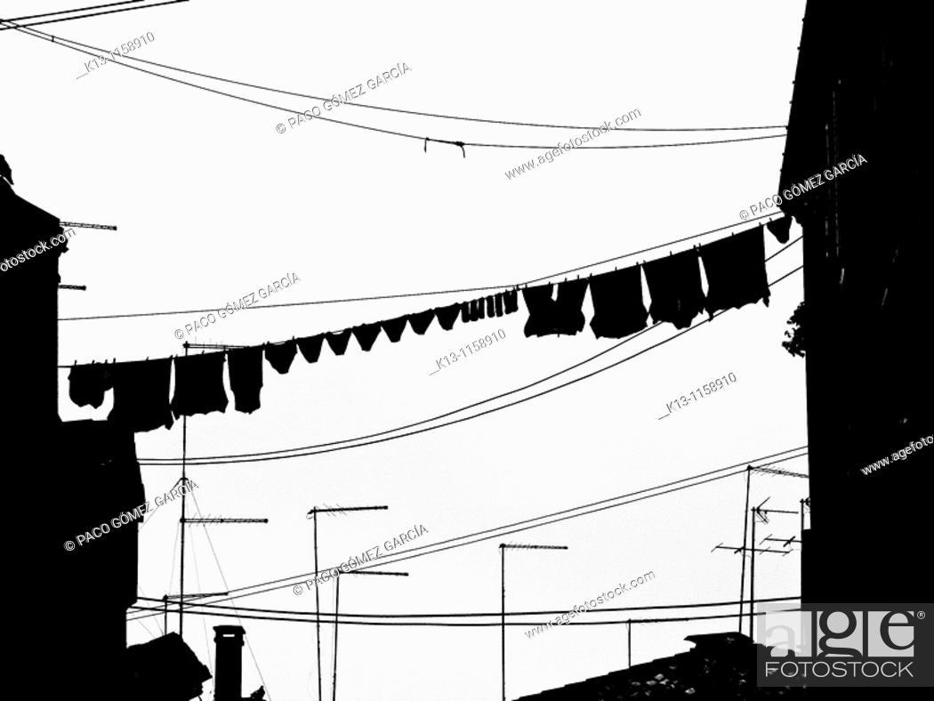 Stock Photo: Italy, Venice, clothes on clothesline.