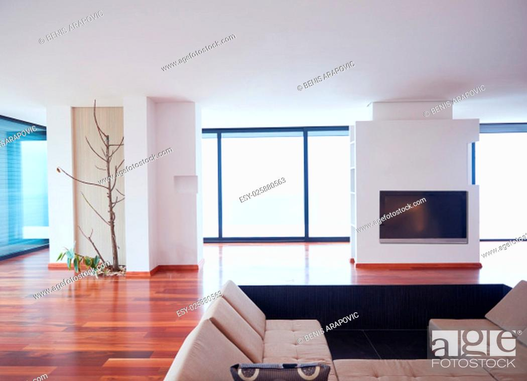 Stock Photo: Architecture, Interior, modern apartment, wide living room in bright home.