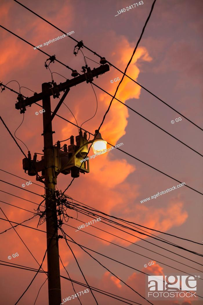 Stock Photo: Electric wires at Sunset.