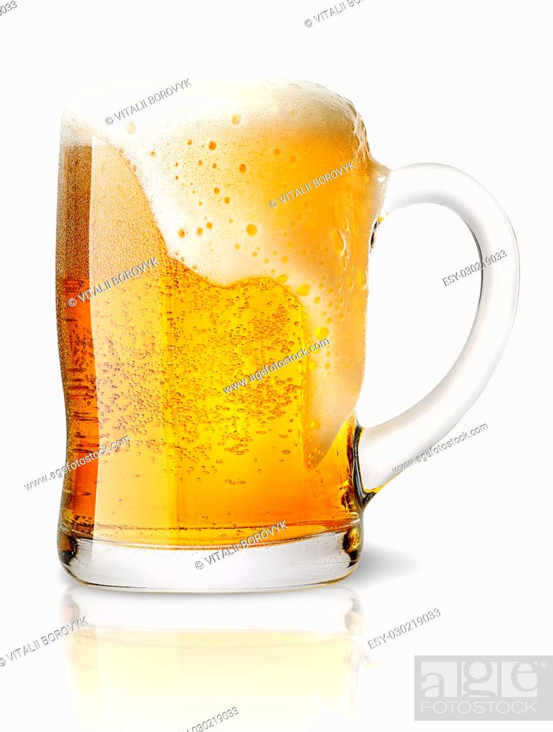 Stock Photo: Frosty glass of light beer set isolated on a white background.