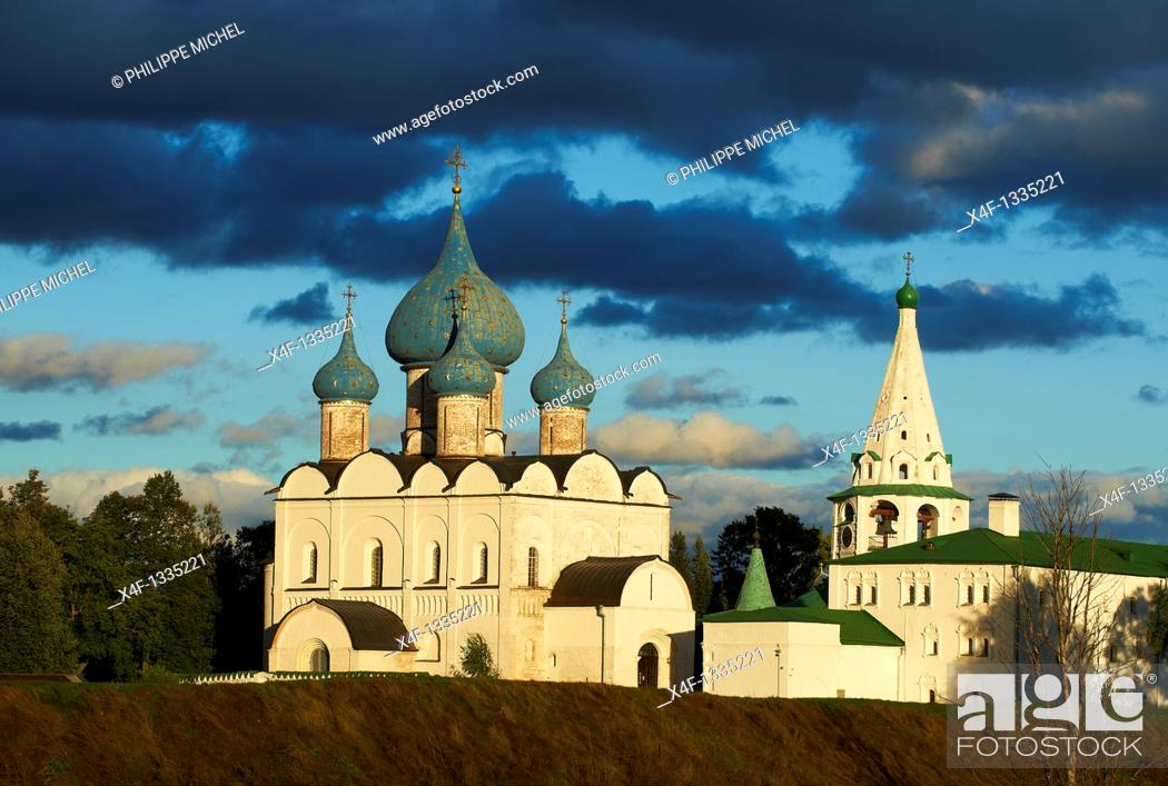 Stock Photo: Russia, Rossiya, Vladimir Oblast, Golden Ring, Suzdal, Unesco world heritage, Fortified citadel 'kremlin'  Cathedral of the Nativity, 12th century.