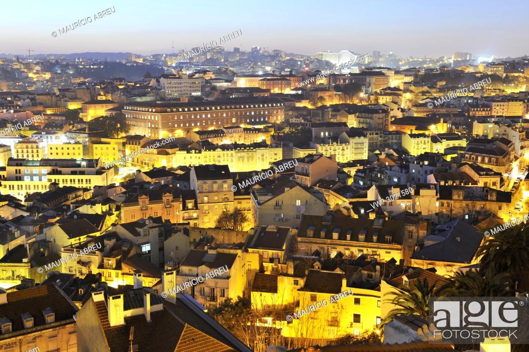 Stock Photo: Mouraria district and the historical centre of Lisbon, Portugal.
