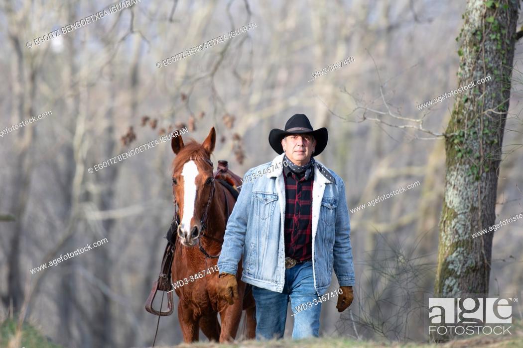 Stock Photo: An arabian horse following a veteran cowboy in the forest.
