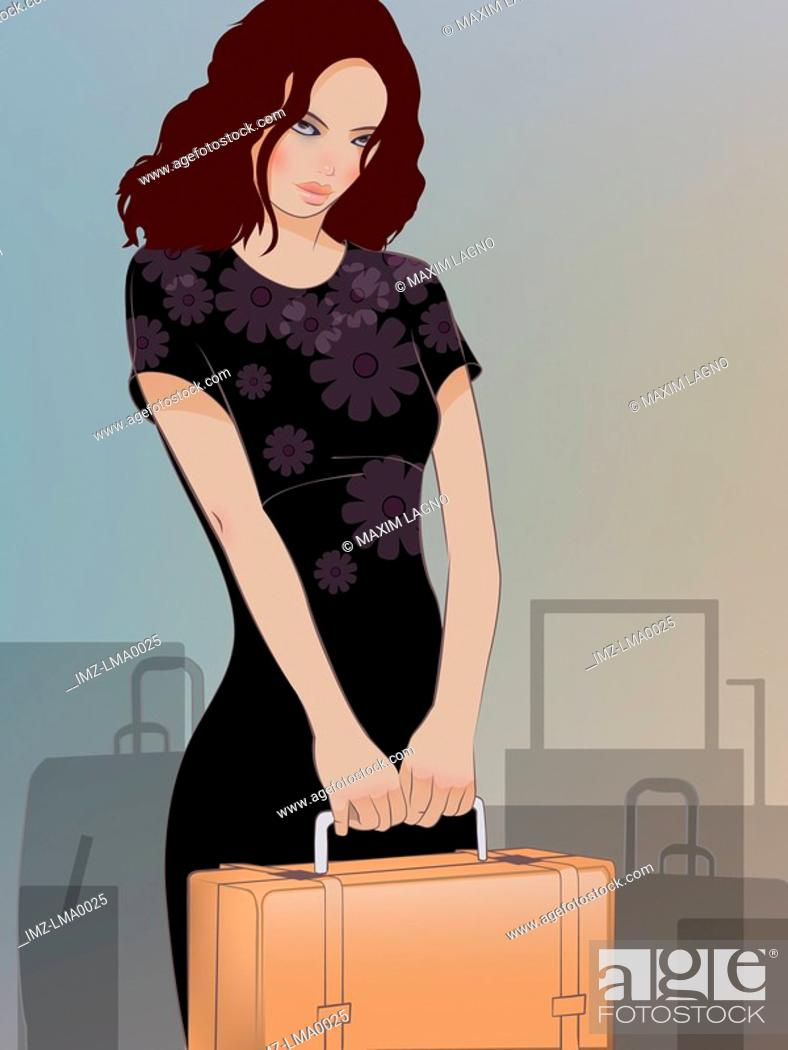 Stock Photo: A woman holding a suitcase and luggage behind her.