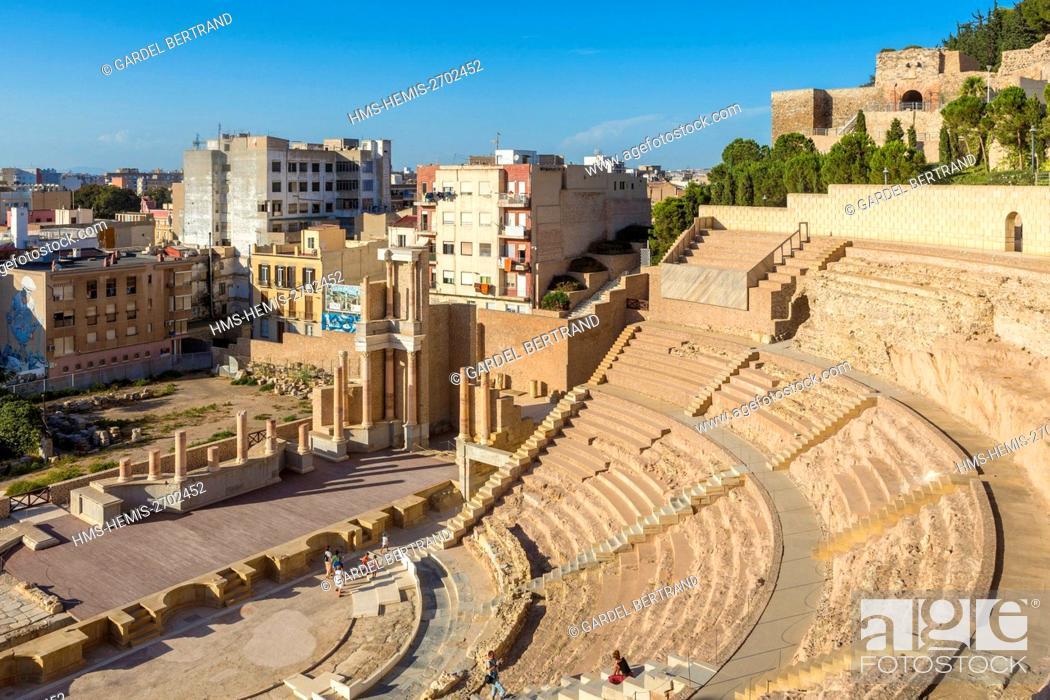 Stock Photo: Spain, Murcia Community, Cartagena, Roman theater.