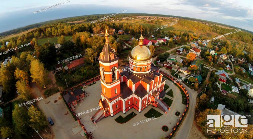 Stock Photo: Aerial view of the Trinity church in Karabanovo near Alexandrov in Russia.