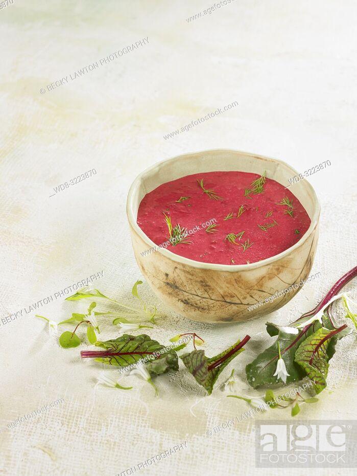 Stock Photo: sopa de remolacha / Beet soup.