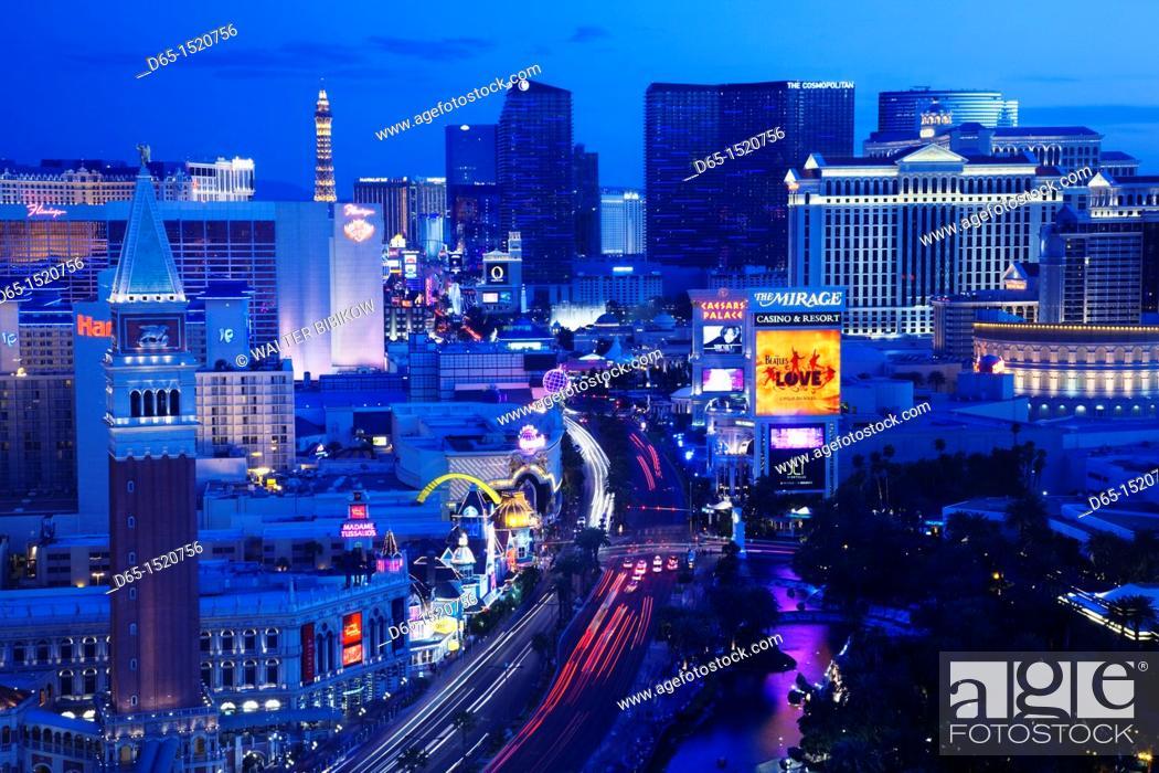 Stock Photo: USA, Nevada, Las Vegas, The Strip, Las Vegas Boulevard, high vantage view, dusk.