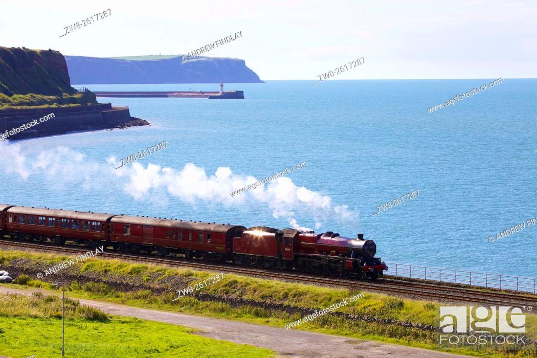 Stock Photo: Steam locomotive LMS Jubilee Class 45699 Galatea. Tanyard Bay, Parton, Whitehaven, Cumbria, England, UK.