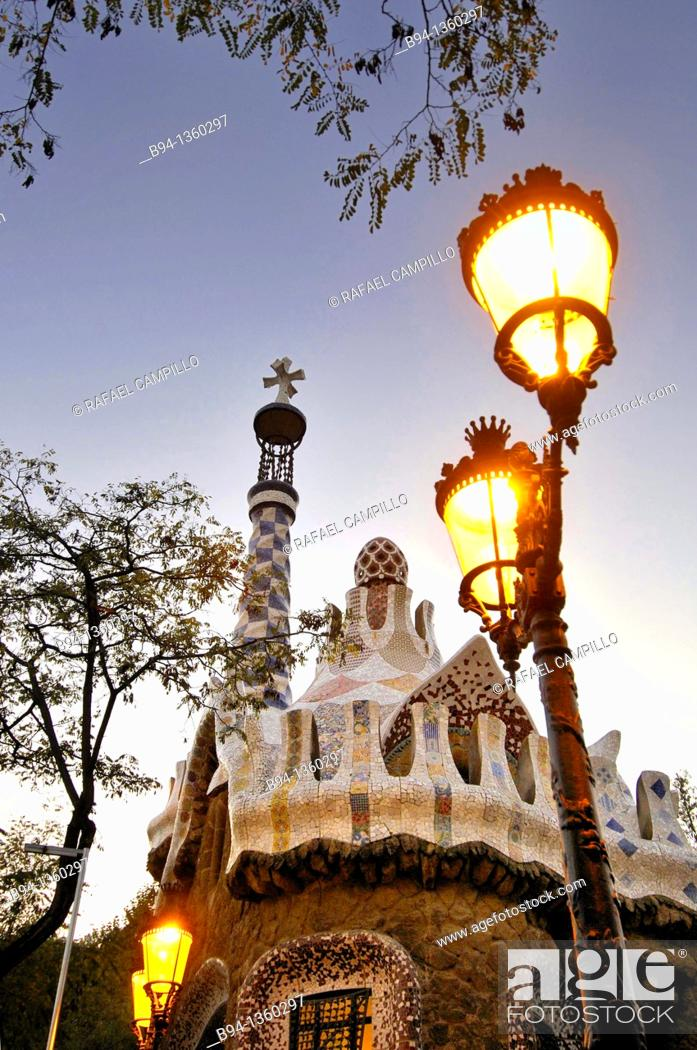 Stock Photo: Park Güell. Garden complex with architectural elements situated on the hill of el Carmel. Designed by the Catalan architect Antoni Gaudí and built in the years.