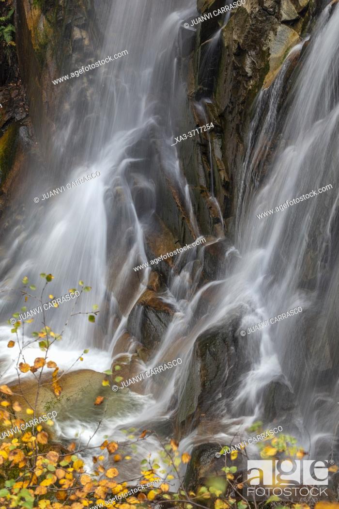 Stock Photo: Waterfall detail at autumn, Pyrenees mountains.