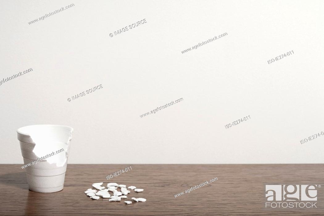 Stock Photo: Disposable cup in pieces.