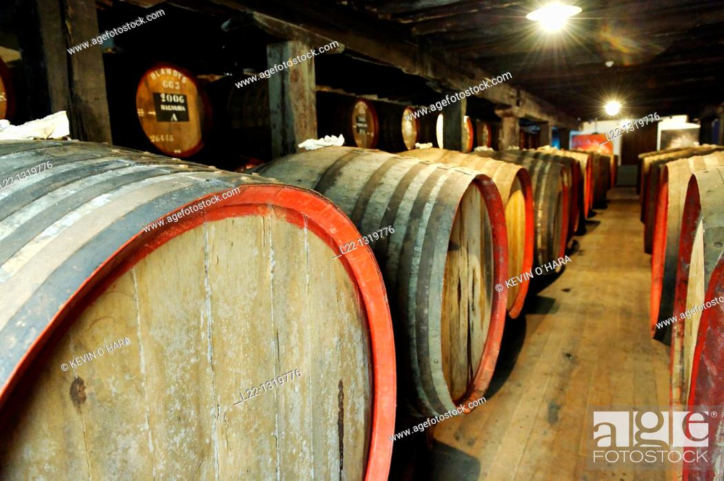 Stock Photo: Cellar of the Madeira Wine Company, Madeira wine barrels, Funchal city, Madeira Island, Portugal.
