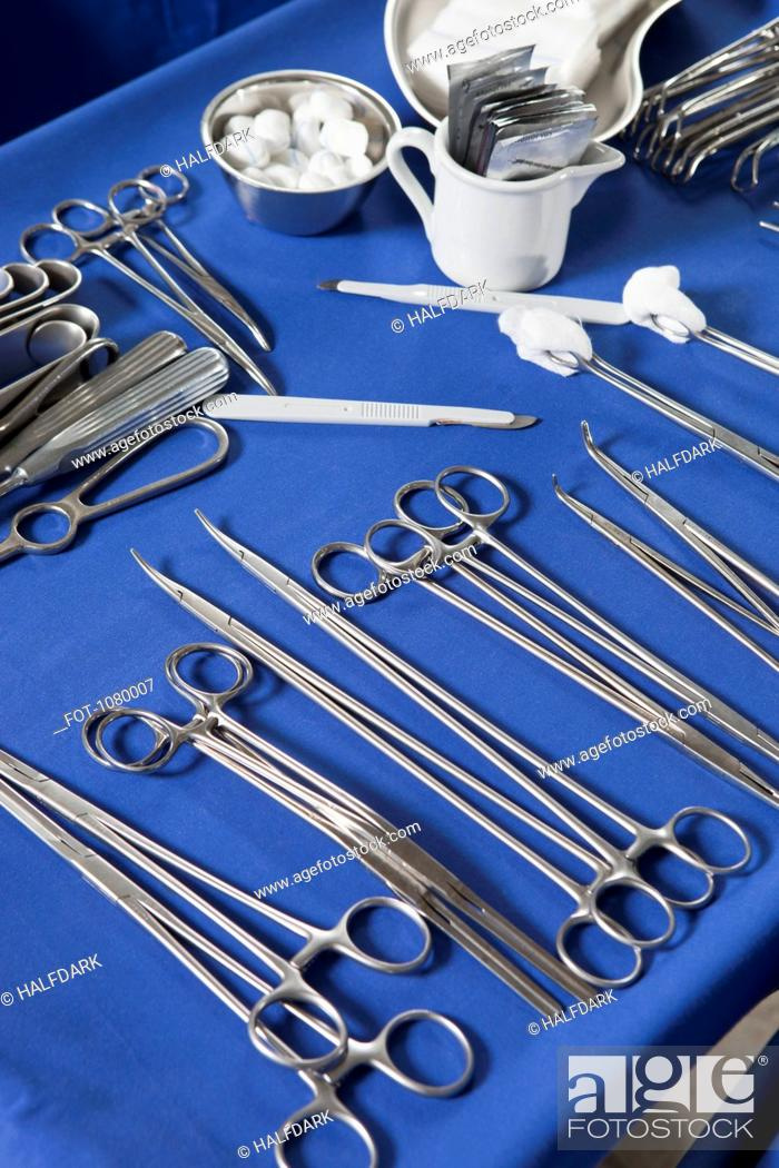 Stock Photo: Tray with surgical instruments and equipment.