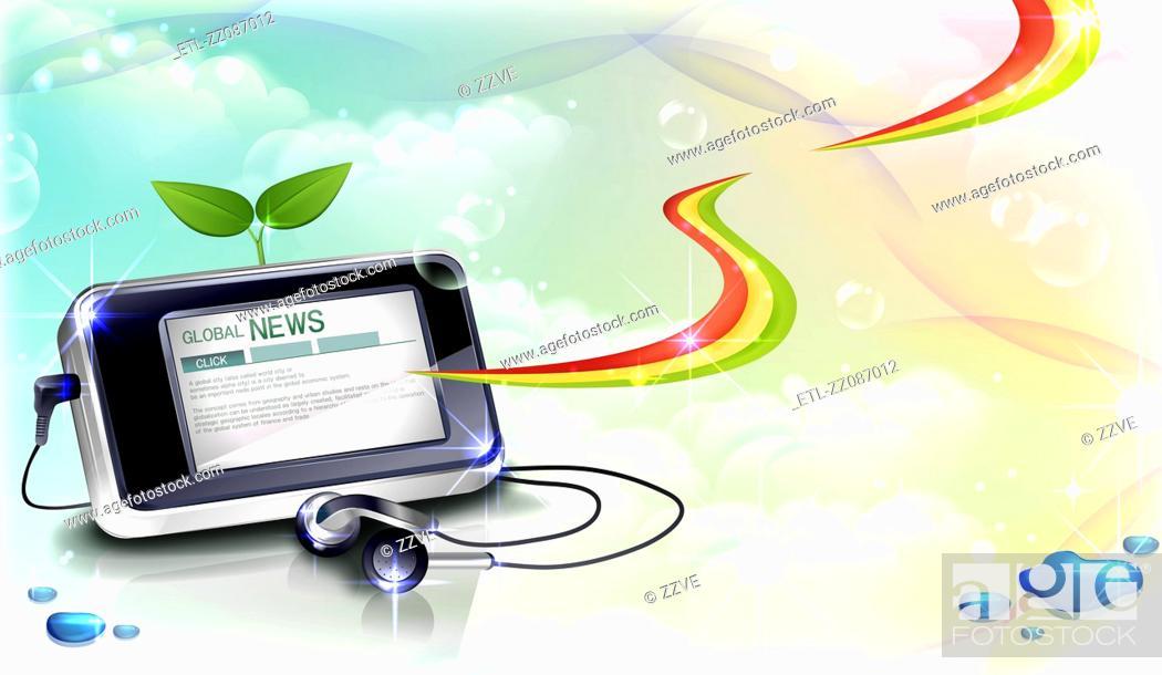 Stock Photo: Global news on mobile screen and headphone.