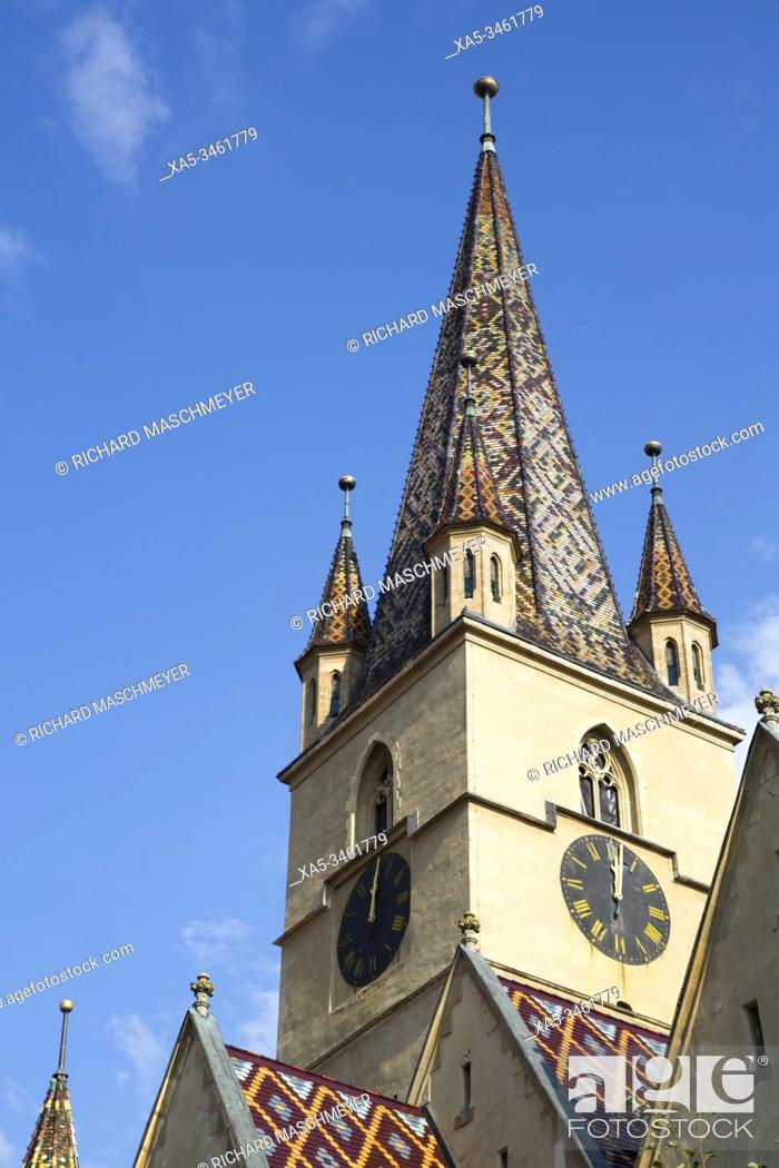 Stock Photo: Clock Tower, Evangelical Cathedral, Founded 1320, Sibiu, Transylvania Region, Romania.