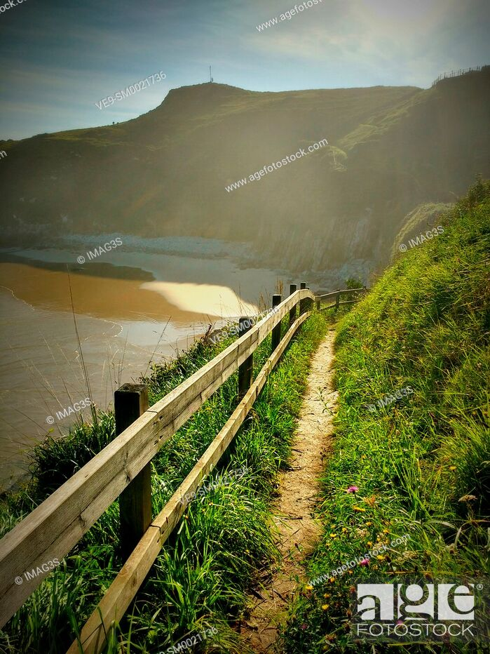 Stock Photo: Vidiago beach and cliffs. Llanes municipality. Asturias, Spain.